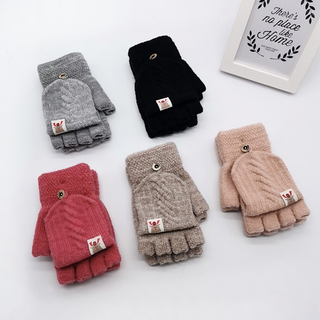 Kids Toddlers Fingerless Mittens Gloves with Flap Winter Warm Mittens Baby Boys Girls Knit Half Finger Gloves with Cover Magic Fingerless Gloves with Cute Knitting Deer Pattern for Indoors Outdoors