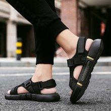 Сандалии на платформе; Мужская обувь; Новинка 2020 года; Черные