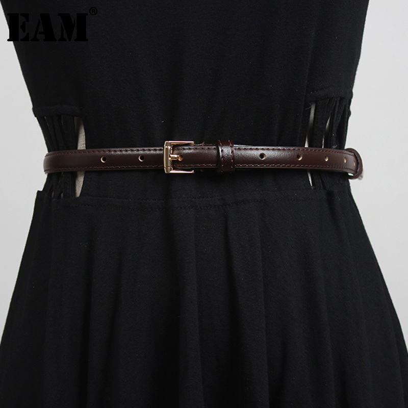 [EAM] White Pu Leather Multicolor Long Thin Belt Personality Women New Fashion Tide All-match Spring Autumn 2021 1DD4384