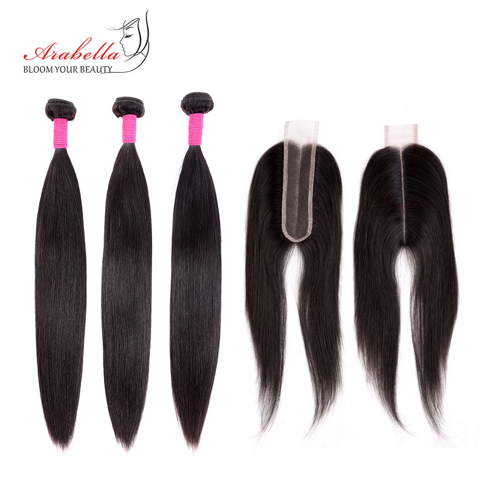 Brazilian Straight Hair Bundles With Lace Closure 2*6 Pre Plucked Bleached Knots Arabella Remy Human Hair Bundles With Closure