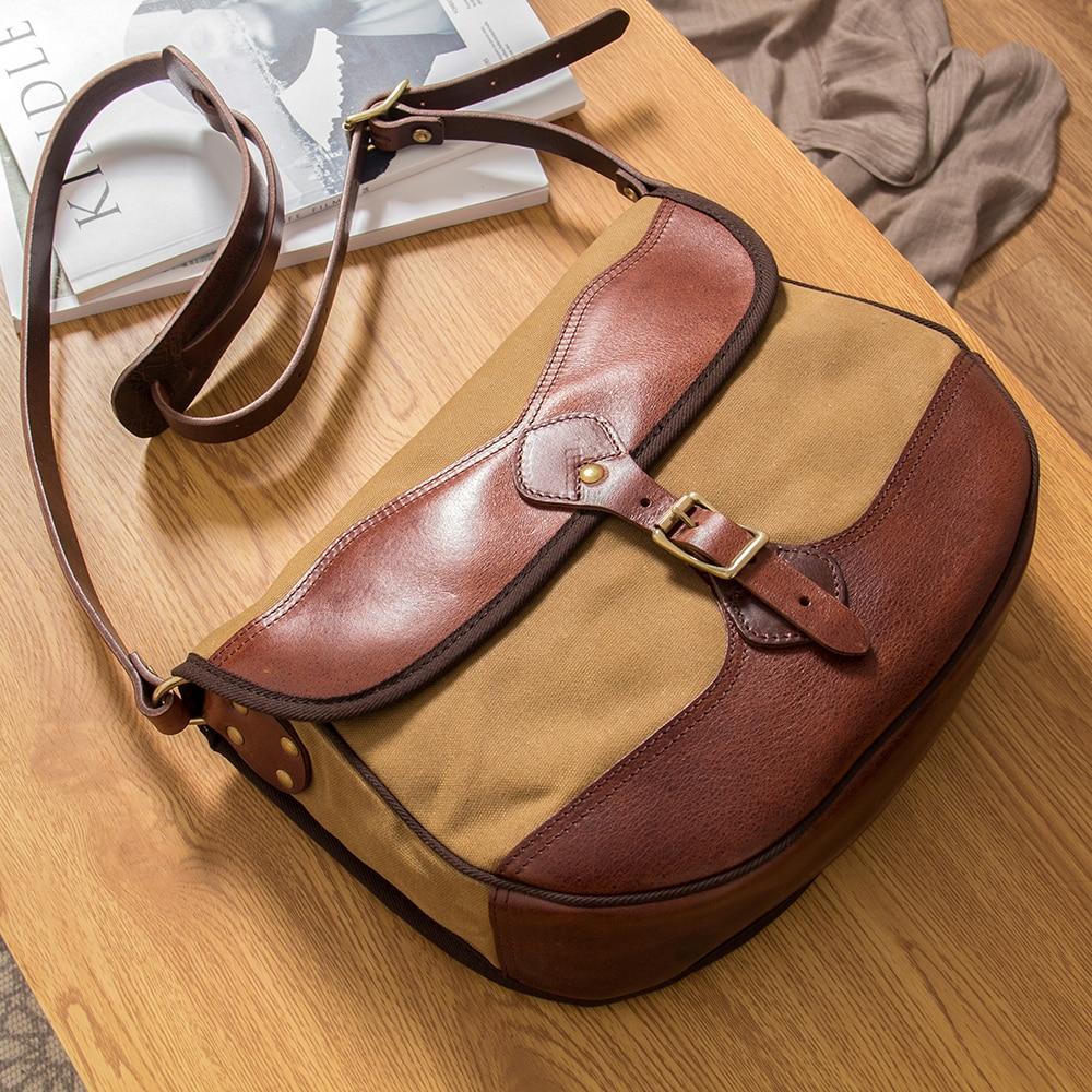 MAHEU Vintage Handmade Leather Shoulder Bag Leather Canvas Cross Body Bags For Men Male Cowhide Boy's School Bags Retro Men Bag - 6