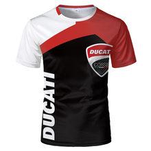 2021 cross-border roupas masculinas novas 3d impressão digital ducati logo camiseta verão roupas masculinas europeias