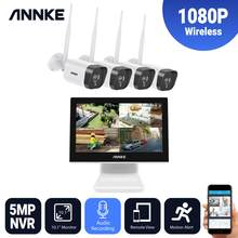 ANNKE 4CH FHD 1080P Wireless Video Security System 10.1 inch LCD Screen 5MP NVR 4PCS IP Cameras Audio Recording Surveillance Kit