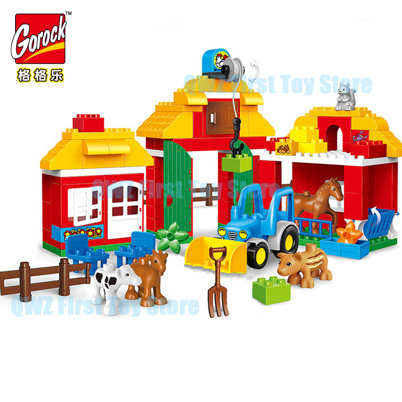 123PCS Happy Farm Big Size Building Blocks Sets Happy Zoo With Animals Kids City Duplo Bricks Toys For Children Gifts
