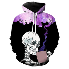 3d Hoodie 3D New Arrival Skull and Galaxy Printing Funny Hip Hop Black Hoodies Pullover Couples