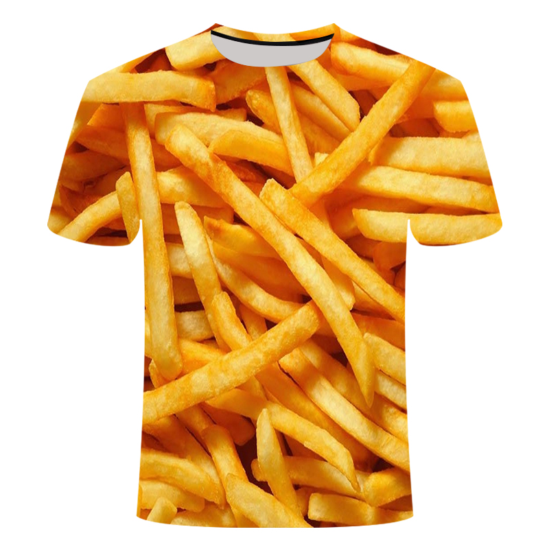 2019 New French Fries T Shirt 3D Printed Tshirt Men Women's Beer Hip Hop Short Sleeve Cola Chips Hamburger Cafe Rock Hip Hop 6XL