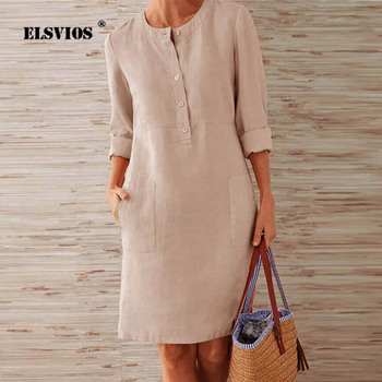 ELSVIOS 2020 Winter Autumn Button Cotton Linen Dress women Elegant O-Neck Knee length Long Sleeve Pocket Solid Dress Plus Size plus button up pocket front pinstripe cami dress
