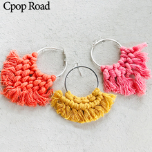 Cpop Fashion Handmade Weave Macrame Earring Bridesmaid Gifts Feather Fringe Tassel Earrings Hot Sale Women Accessories Jewelry