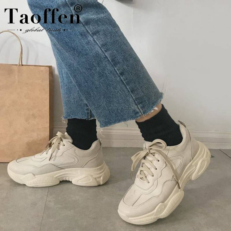 Taoffen Women Casual Sneakers Daily Shoes Thick Sole Round Toe Outdoor Shoes Woman Leisure Shoes Footwear Size 35-39