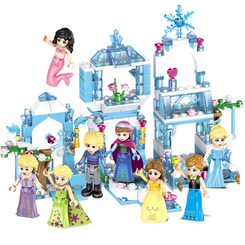 New Girl Friends Princess Ice Castle Elsa Anna Mini Doll Figure Toy For Girl Building Block Bricks With