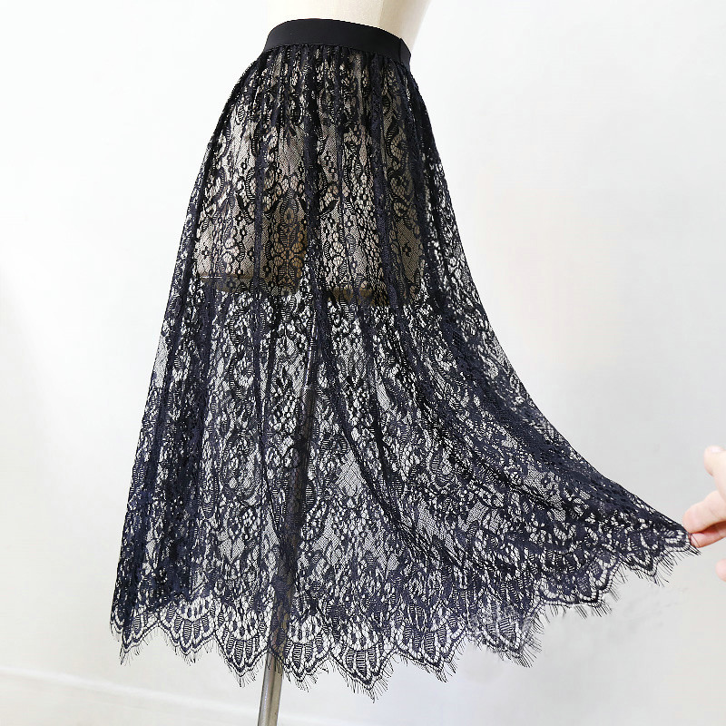 Women Sexy Mesh Lace Transparent Long Tulle Skirt Korean Fashion Summer Ladies Elastic High Waist Black White Beach Midi Skirt