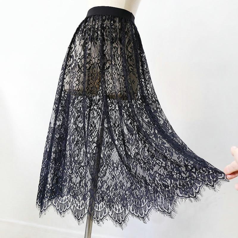Women Sexy Mesh Lace Transparent Long Tulle Skirt Korean Fashion Summer Ladies Elastic High Waist Black White Beach Midi Skirt