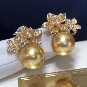 Image 4 - Boucles doreilles fines pour femmes, bijoux fins, en or 14 K purs, océan en or naturel, 11 10mm, boucles doreilles pour femmes, 1103