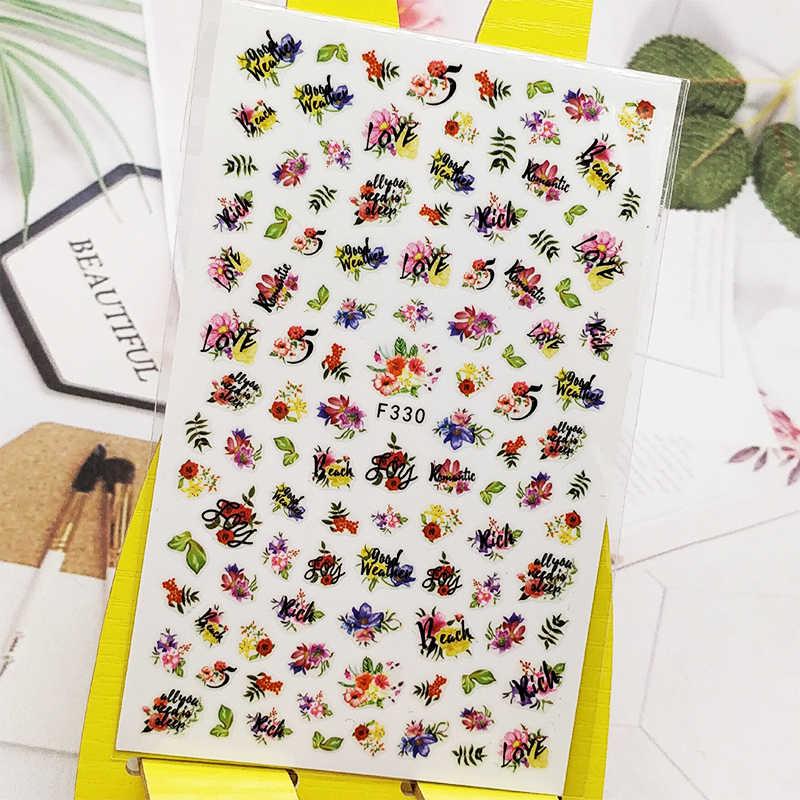 3D Nail Sticker Engels Bloemen Ontwerp Nail Art Decoraties Stickers Folie Decals Wraps Manicure Accessoires Nagels Decoraciones