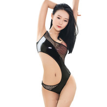 Latex Bodysuit Erotic Lingerie Fishing-Net High-Cut Sexy Women Patchwork No Clubwear