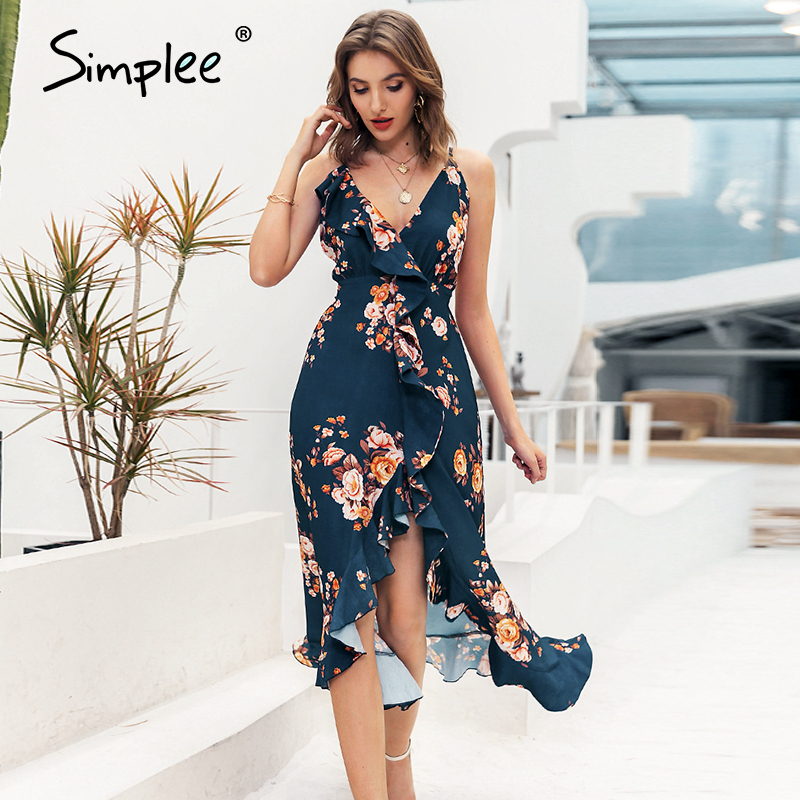 Simplee Sexy v-neck spaghetti strap women dress Bohemian floral print asymmetrical long sundress Summer style ladies maxi dress