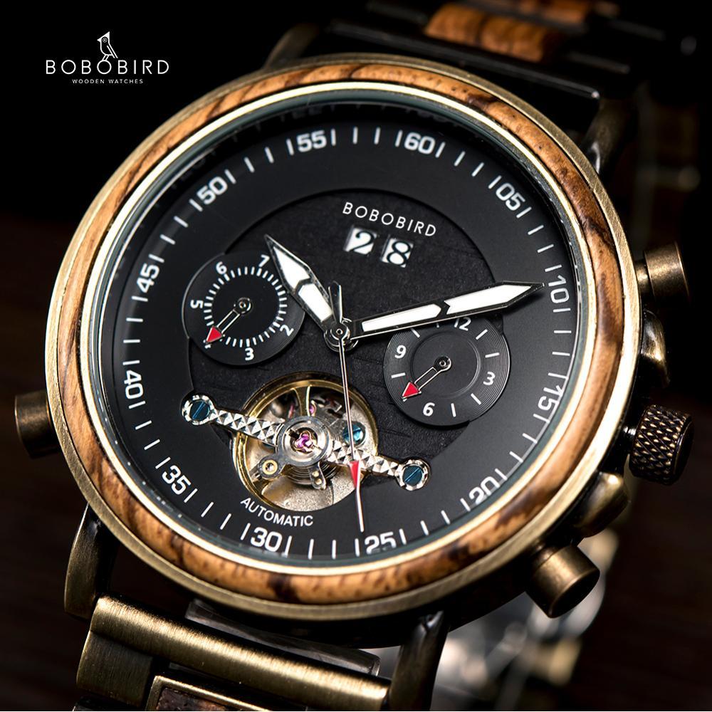 BOBO BIRD Couple Mechanical Wooden Watches Auto Date reloj made Automatic Lover Multifunctional Clock for Men Women Dropshipping