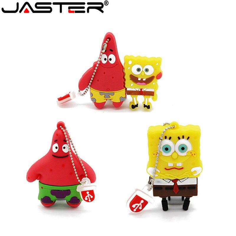 Cute Sponge Bob Back Drop Usb Flash Drive Usb Stick 2.0 Pen Drive 4GB 8GB 16GB 32GB U Disk Lovely Creative Cartoon Pendrive
