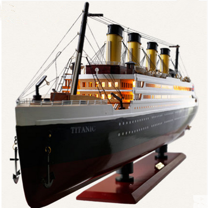 30-100CM Wooden Titanic Cruise Ship Model With LED Lights Decoration Wood Sailing Boat Craft Creative Home Living Room Decor