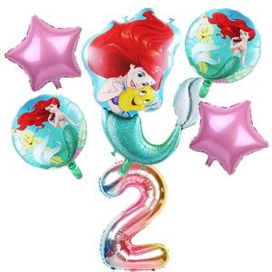 6pcs mermaid Ariel cartoon disney princess foil balloons 32Inch Number baby girl pink air baloes birthday party decor kids toys(China)