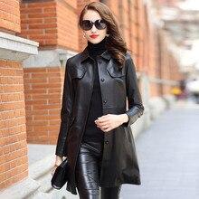 黒スリムミドル本革の女性のファッションコート古典的な本物の羊皮ポケットサッシ春のオーバーコート