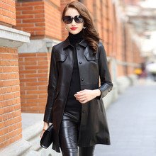 Black Slim Mid Length Genuine Leather Women Fashion Coat Classic Real Sheepskin Jackets with Pockets Sashes Spring Overcoat