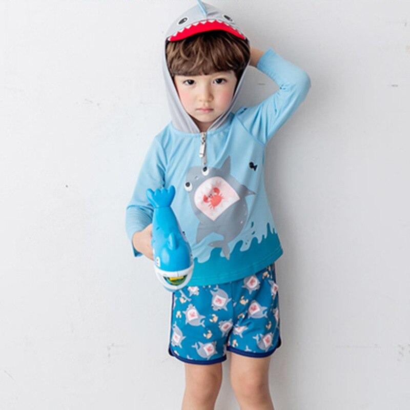 Hooded KID'S Swimwear Baby Split Type Set Swimming Trunks Sun-resistant Quick-Dry College Style BOY'S Boy Big Boy Swimwear
