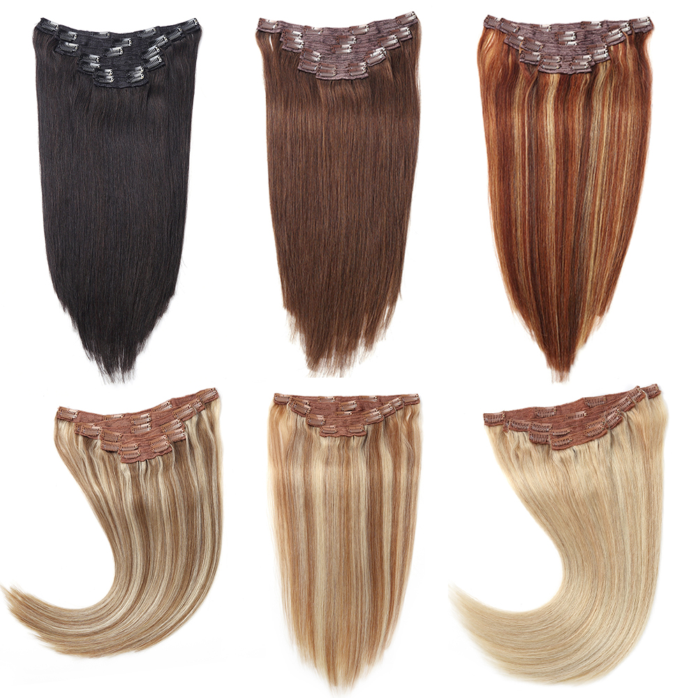 Sindra Brazilian Hair Straight Clip In Human Hair Extensions Machine Made Remy 7PCS/set Pure Piano Balayage Color 14