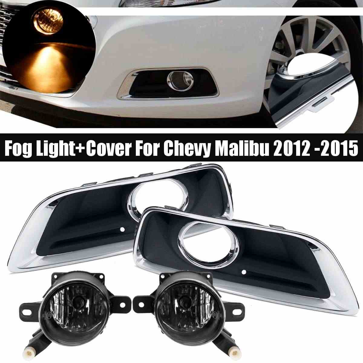 12V H11 Mistlamp En Cover Voor Chevy Malibu 2012 2013 2014 2015 Auto Foglight Front Lower Bumper Grill frame Driving Lamp Drl