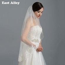 Ngà Trắng Bridal Mạng Che Mặt Đám Cưới Fingertip Alencon Lace Bridal Mạng Che Mặt với Comb