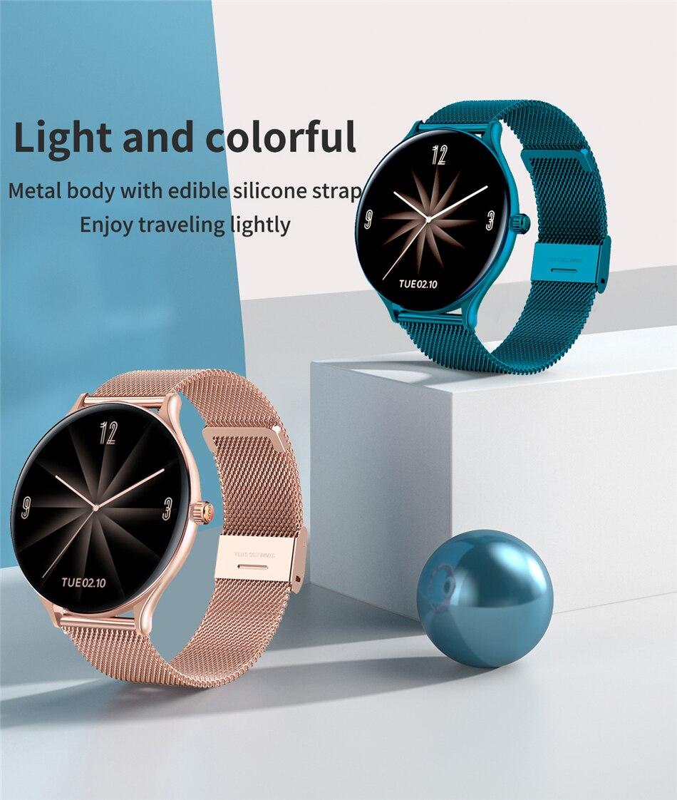H8ec3729536ed4f35a4ba79d0455e794aC 2021 New Full circle touch screen Women smart watch Luxury steel Watch Band Fashion smartwatch Sport Activity tracker For Xiaomi
