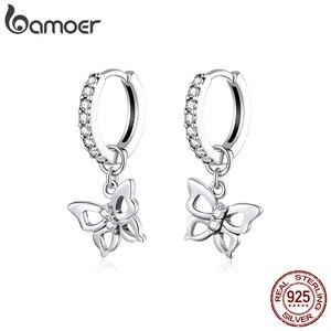 Bamoer GXE833 925 пробы Серебряные Элегантные выдолбленные серьги-кольца с бабочкой трендовые женские ювелирные изделия гипоаллергенные серьги