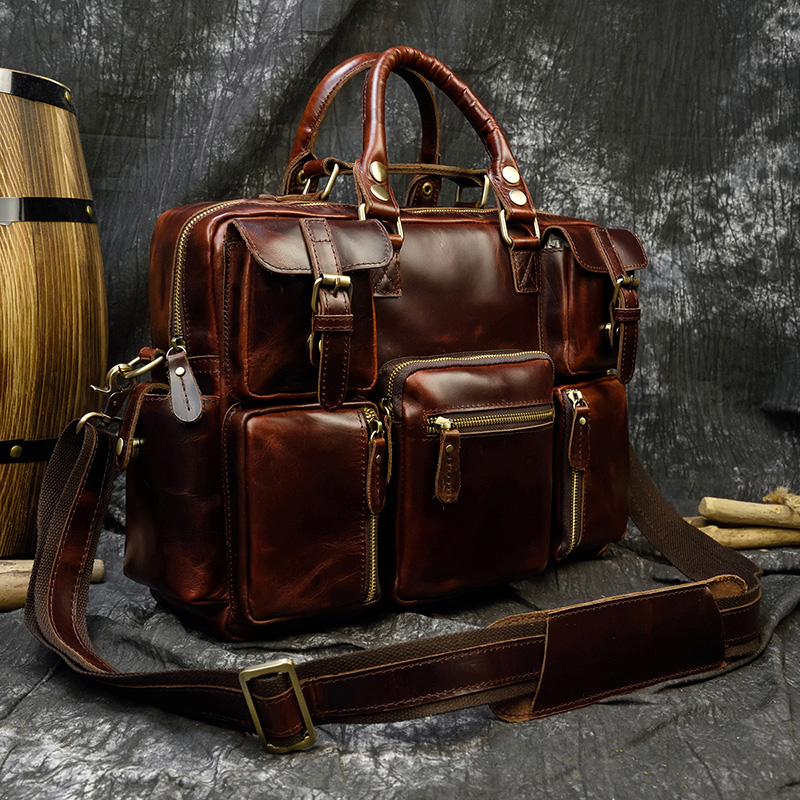 """H8ec3c0fcc6b1456d91cf19cf9b4eb3fbF MAHEU Men Briefcase Genuine Leather Laptop Bag 15.6"""" PC Doctor Lawyer Computer Bag Cowhide Male Briefcase Cow Leather Men Bag"""