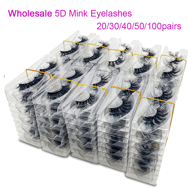20/50/100Pairs Wholesale Mink Lashes 3D Mink Eyelashes 100% Cruelty free Lashes Handmade Reusable Natural False Lashes Makeup 1