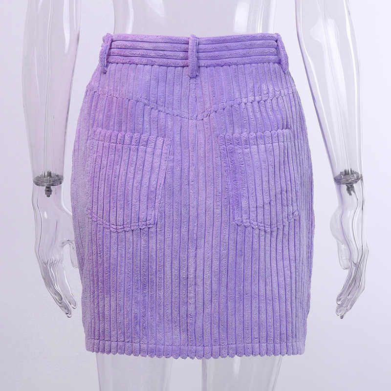 2019 jesień zima w nowym stylu kobiety łatwe dopasowanie sztruks fioletowy przycisk kieszenie pośladki spódnice Streetwear