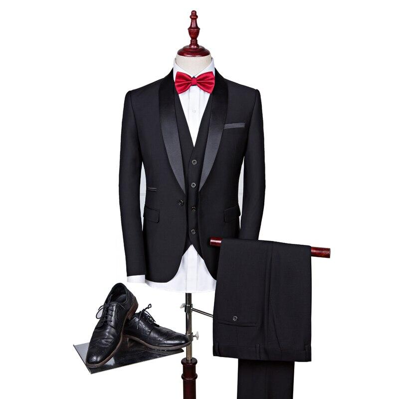 Traje de marca para hombre 2020 trajes de boda ajustados para hombre cuello chal 3 piezas traje Borgoña para hombre azul marino esmoquin chaqueta 5XL 6XL Q168 - 4