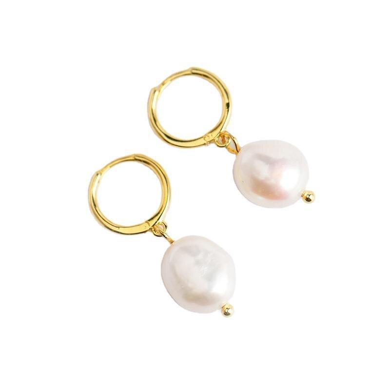 WANTME naturel eau douce irrégulière Baroque perle pendentif boucles d'oreilles pour les femmes réel 925 en argent Sterling fête bijoux de mariage 6