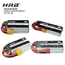 HRB Lipo סוללה 2S 3S 4S 5S 6S 7.4V 11.1V 14.8V 18.5V 22.2V 1500mah 1800mah 2200mah 45C 50C עבור מירוץ Drone FPV Quadcopter