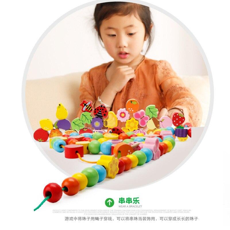 Children Wooden Building Blocks Cartoon House Beaded Bracelet Wearing Rope String Beaded Bracelet Bead-stringing Toy CHILDREN'S