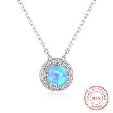 цена Blue Opal Stone 925 Sterling Silver Women Necklaces Clear Round CZ Pendant Necklaces Sterling Silver Jewelry Birthday Gifts онлайн в 2017 году