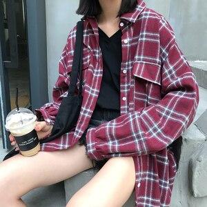 Image 4 - Рубашки женские свободные в Корейском стиле, модная однобортная Солнцезащитная рубашка в стиле Харадзюку, с длинным рукавом, для школьников и студентов, повседневные