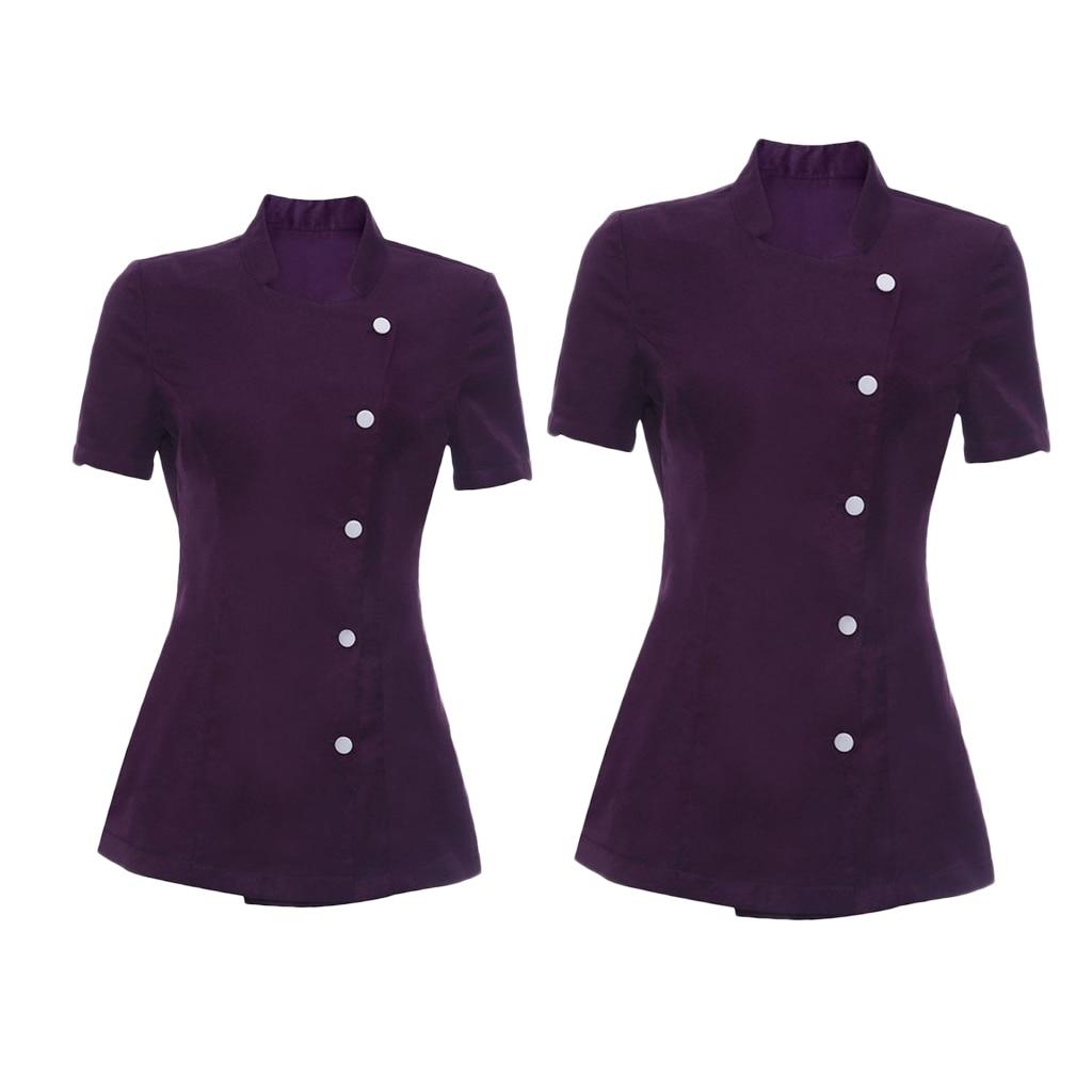 Beauty Nail Spa Uniform 2pcs Durable Women's Purple Salon Tunic Health Work Wear Beautician M L Hotel Worker Uniform