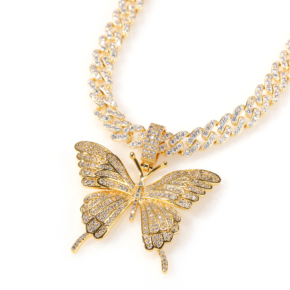 Uwin Butterfly Pendant Jewelry Tennis-Chain Necklace Men Gift Rose-Gold Iconic Hip-Hop