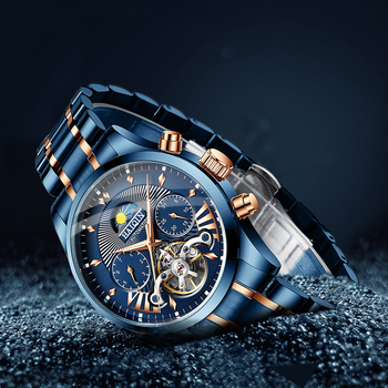 HAIQIN Blue Automatic mechanical Men's Watches Top brand luxury men watch wristwatch mens waterproof reloj hombre tourbillon New haiqin men s mens watches top brand luxury watch men mechanical military waterproof wristwatch mens tourbillon reloj hombre 2019