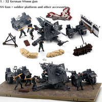fine 1 / 32 German 88mm gun 88 Gun + soldier platform and other accessories Suit finished product Alloy collection model