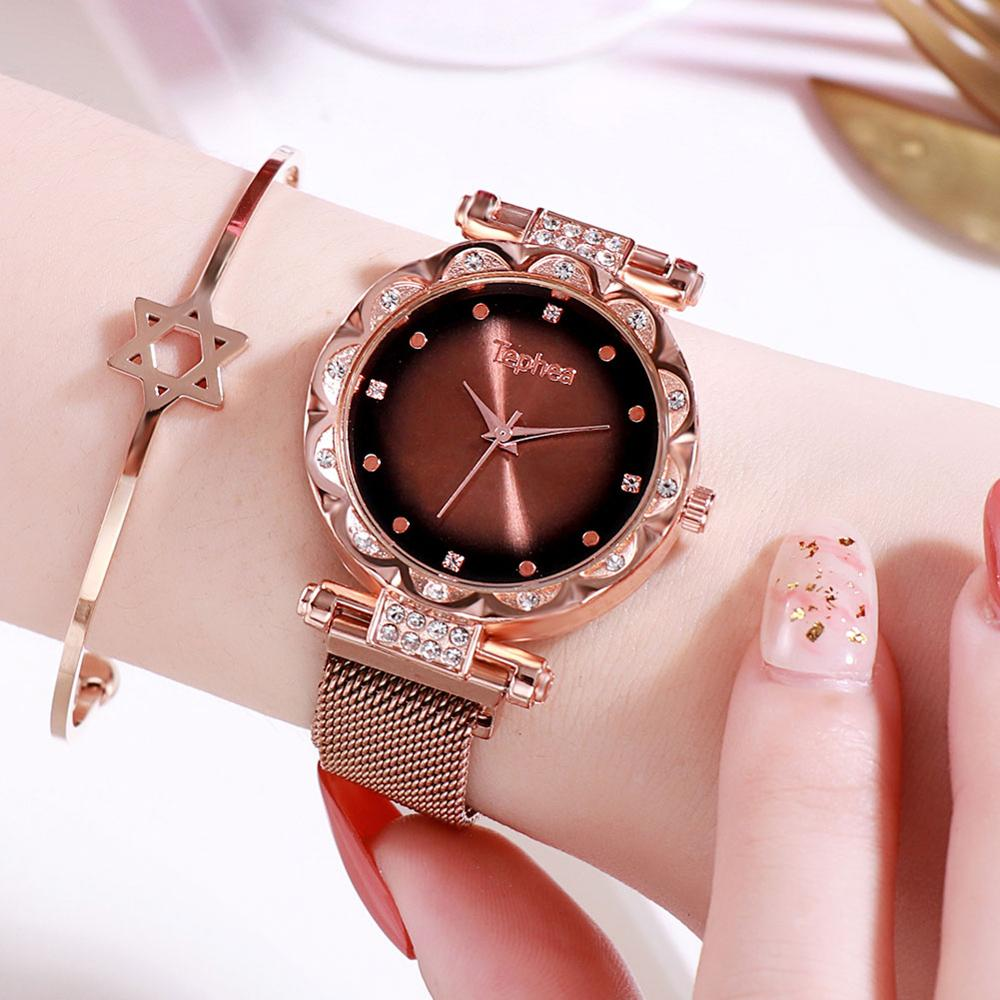 Women Wrist Watch Quartz Stainless Steel Band Women Magnet Buckle Gradient Color Watch Rose Gold For Ladies Wrist Watch Diamond