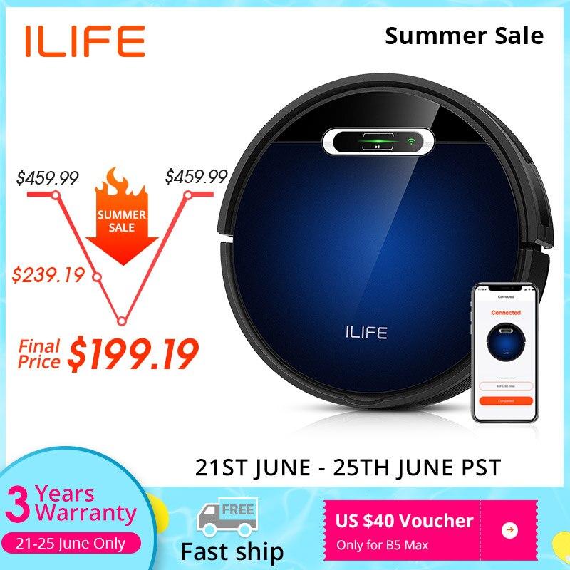 ILIFE B5 Max робот-пылесос, мобильные телефоны WI-FI приложение Управление, швабра и развертки, сильное всасывание 2000pa,600 мл большой Dustbox,1L мешка для ...
