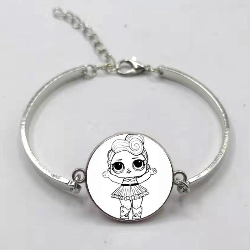 Мультфильм LOL браслет для куклы милый ребенок флэш Кукольное платье принцессы стеклянная кнопка, купол тканый кожаный браслет подарок на день рождения - Окраска металла: Silver