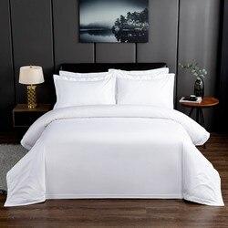 Premium Hotel biały kołdra okładka łóżko zestaw arkuszy 100% natura miękka bawełniana łatwa pielęgnacja 600TC powłoczki podwójne, pełne Queen duży rozmiar 4 sztuk