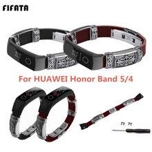 Кожаный ремешок fifata для huawei honor band 5 кожаный браслет